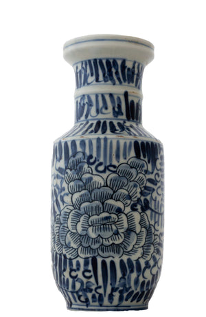 Blue And White Stroke Floral Vase - Amy Berry Home