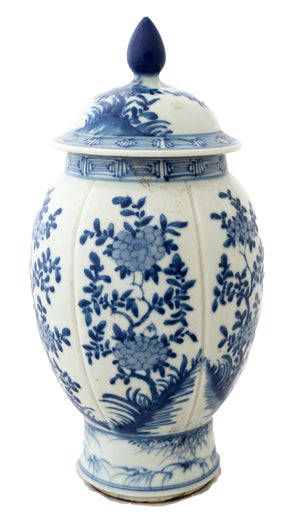 Blue And White Jar Vase with lid - Amy Berry Home