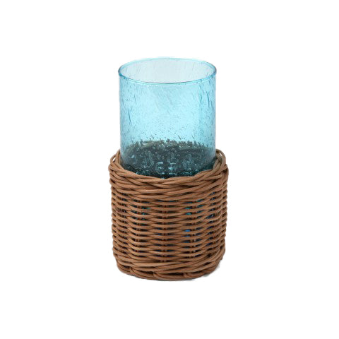 Blue Highball Glass with Rattan Sleeve - Amy Berry Home