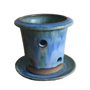 Blue Glazed Orchid Pot