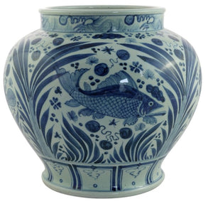 Blue & White Fish Jar - Amy Berry Home