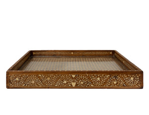 Teak Inlay and Cane Tray - Amy Berry Home