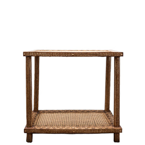 Wood Cane Side Table - Amy Berry Home
