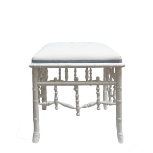White Chippendale Ottoman - Amy Berry Home