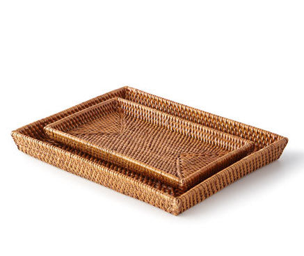 Dalton Brown Rattan Trays - Amy Berry Home