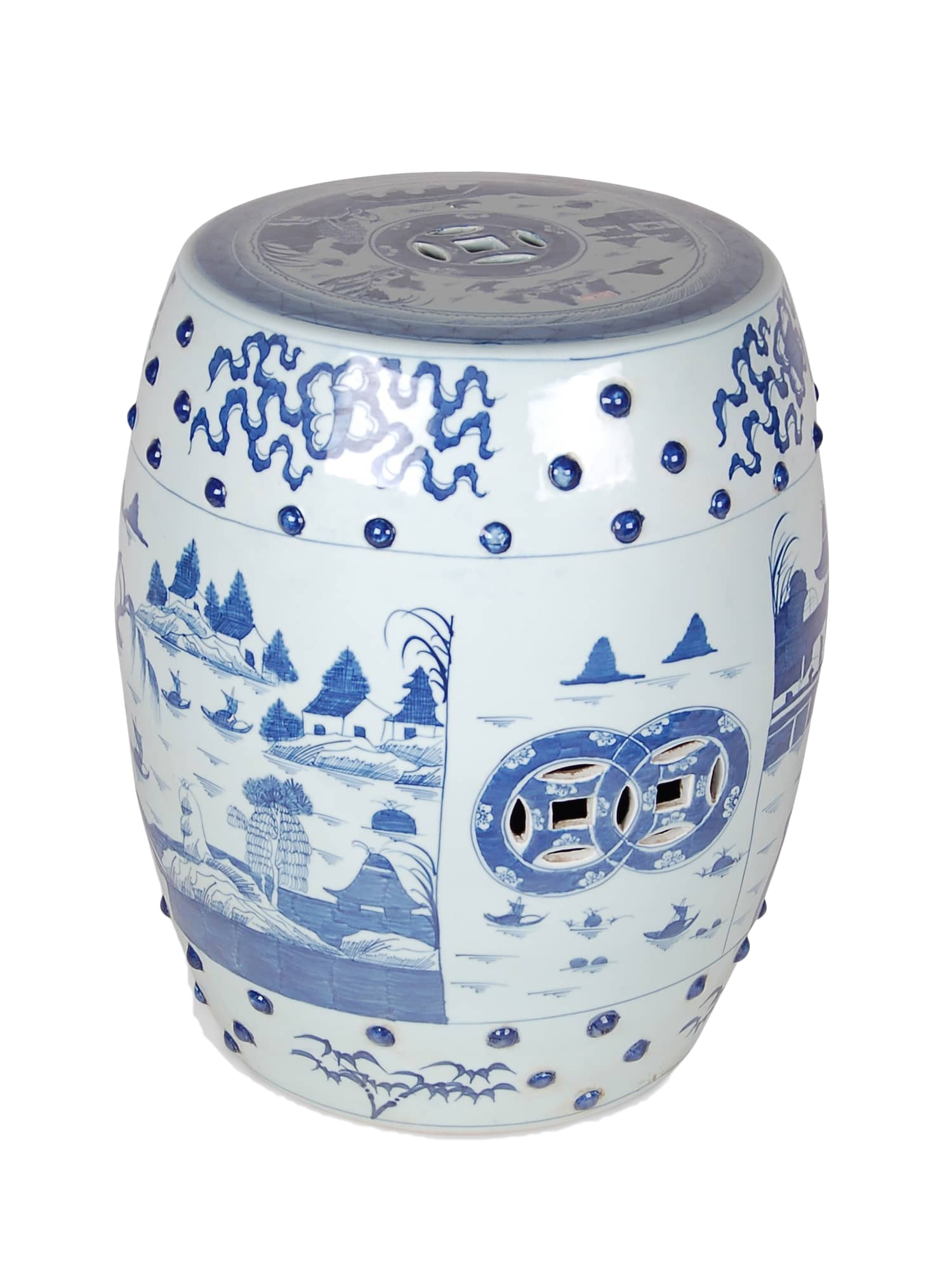 Large Blue & White Garden Stool - Amy Berry Home