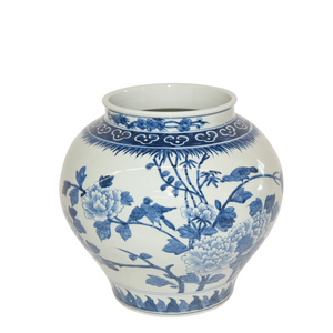 Large Blue & White Floral Jar - Amy Berry Home