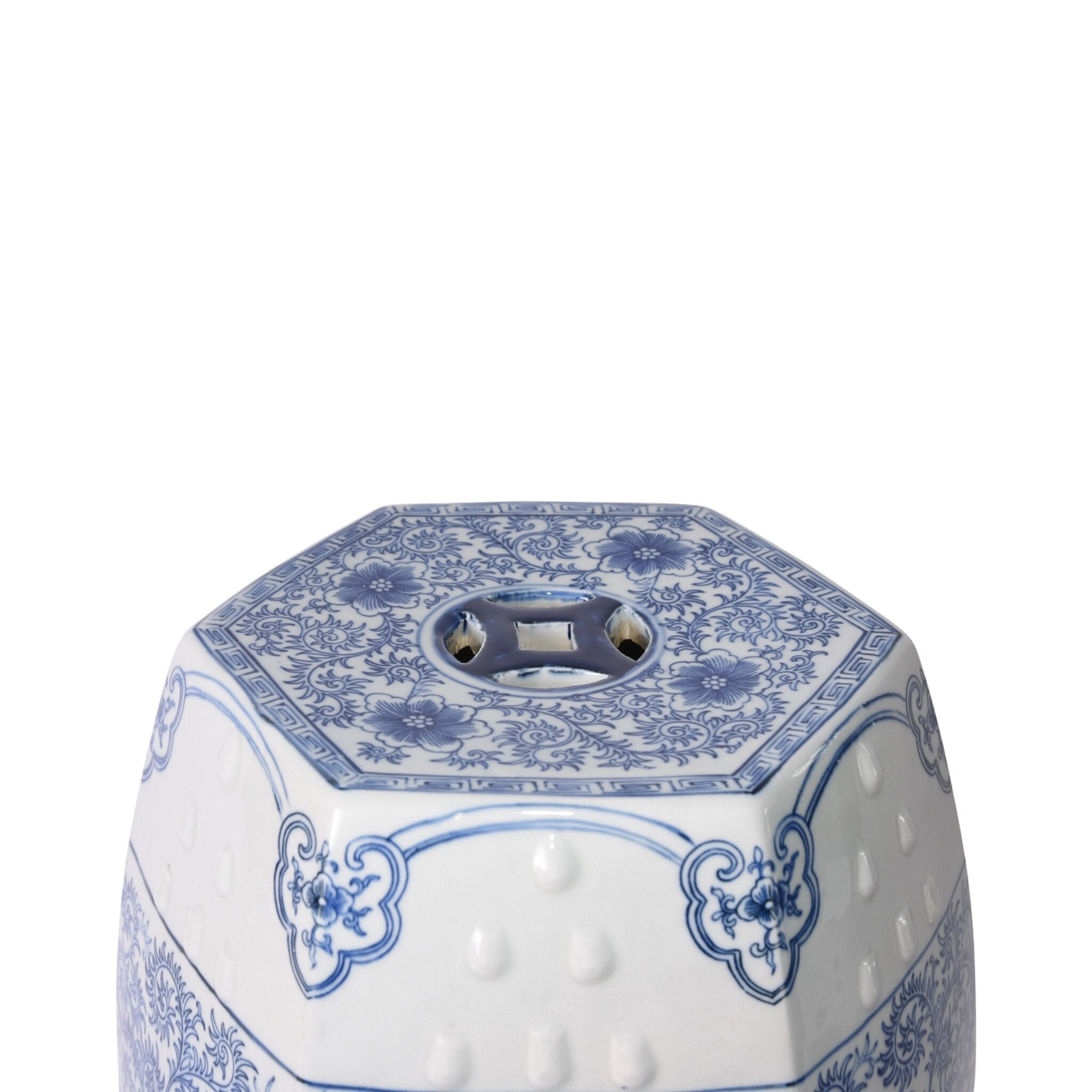 Blue and White Scroll Stool - Amy Berry Home