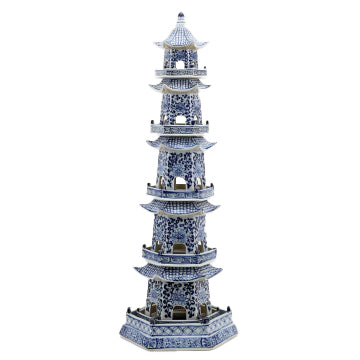 Tall Blue & White Pagoda - Amy Berry Home