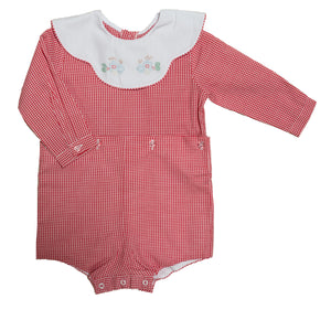 Red Check Long Sleeve Train Boy Suit - Amy Berry Home