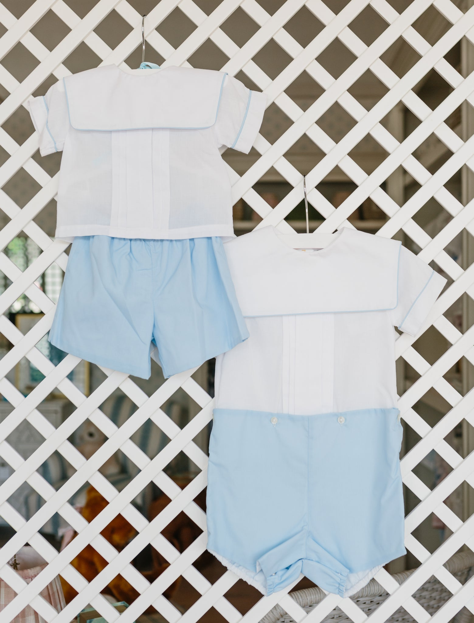 Two Piece Blue and White Set