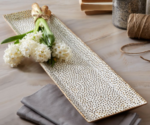 "24"" Gold Beaded Tray"