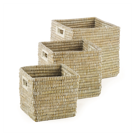 RIVERGRASS SQUARE BASKET WITH HANDLE