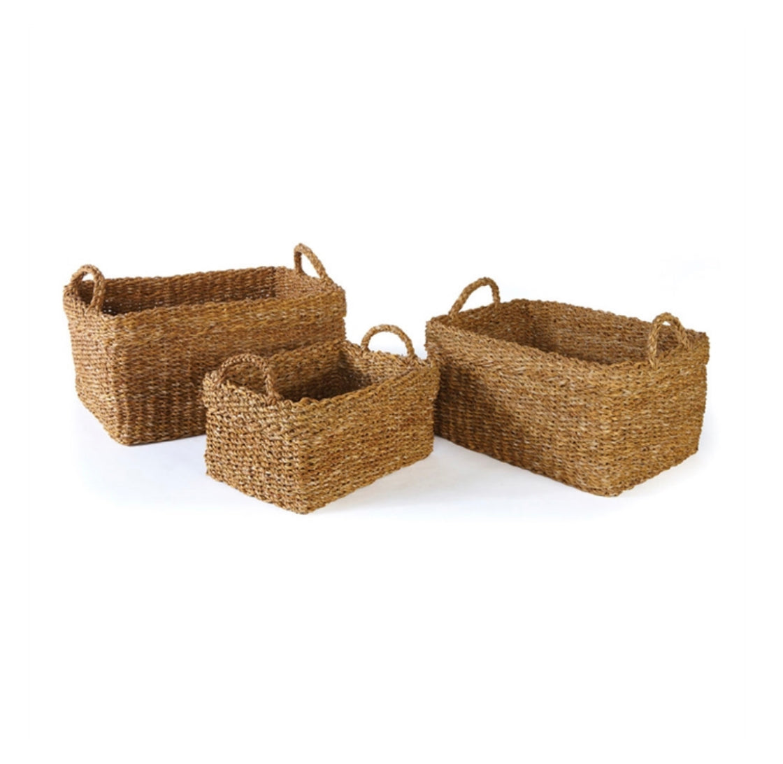 Seagrass Rectangle Baskets with Cuffs - Amy Berry Home