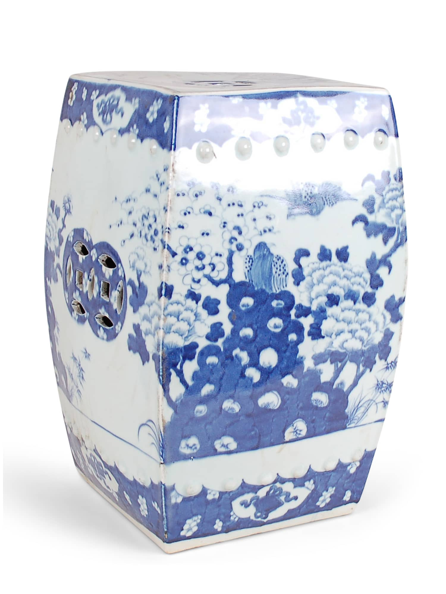 Blue and White Square Garden Stool - Amy Berry Home