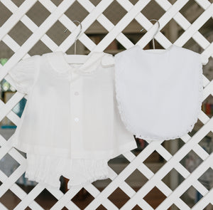 White Two Piece Diaper Set - Amy Berry Home