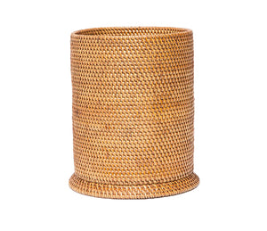 Brown Rattan Wastebasket - Amy Berry Home