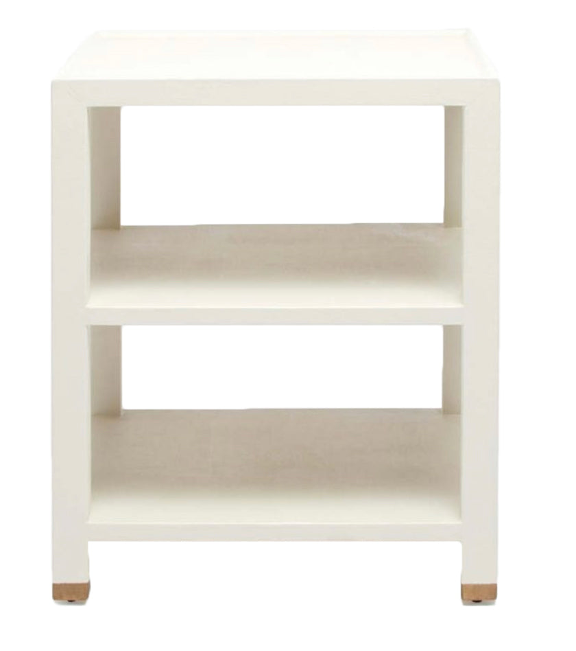 White Linen Wrapped Shelf Table - Amy Berry Home