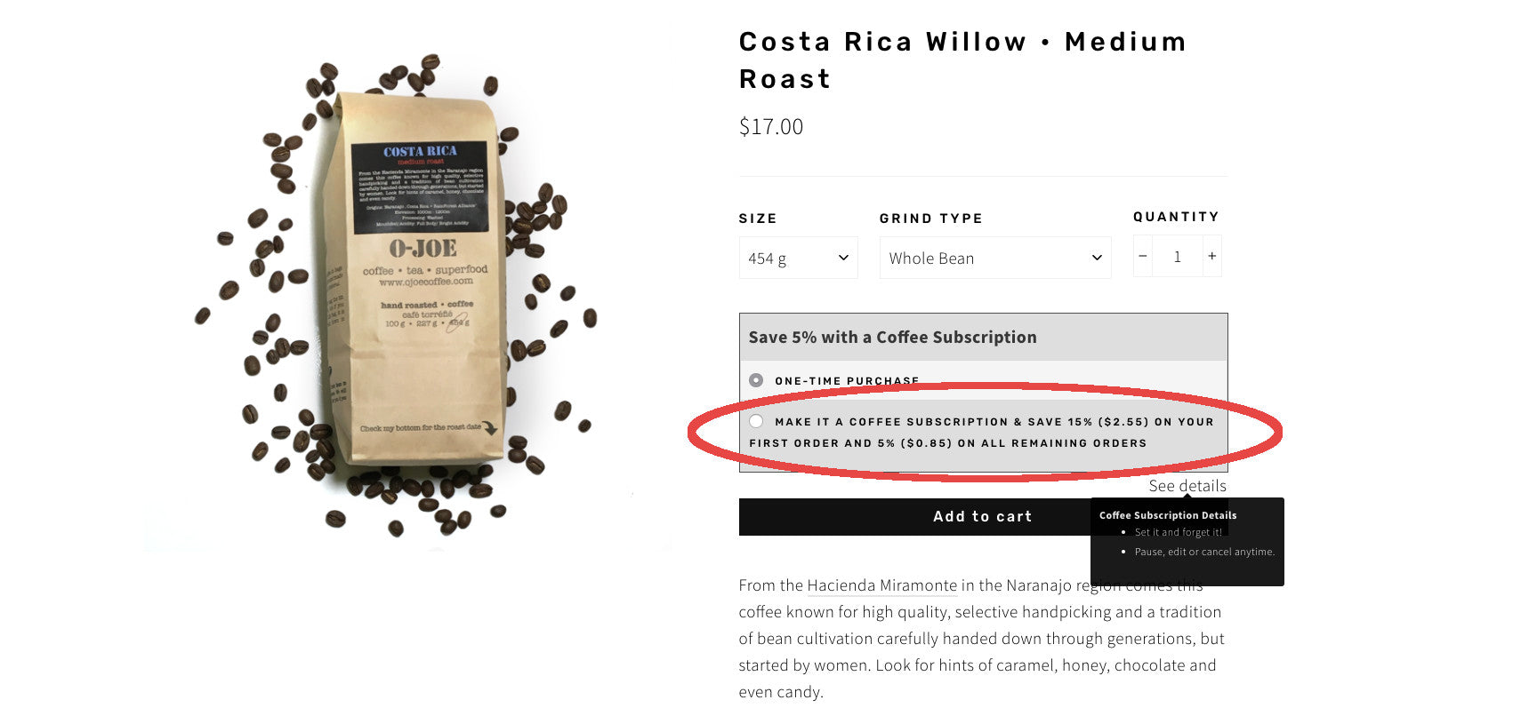 OJoe Coffee Subscription Instructions