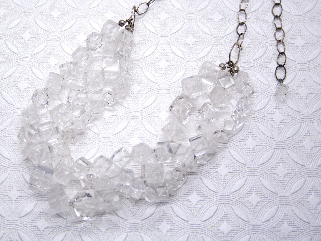 Crystal Quartz Multi Strand Statement Necklace
