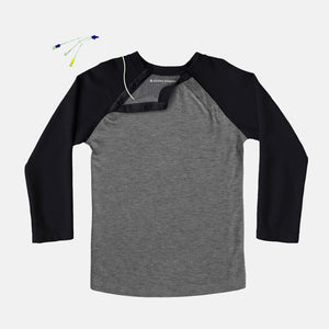 Adult Shoulder Snap Baseball Tee (Black)