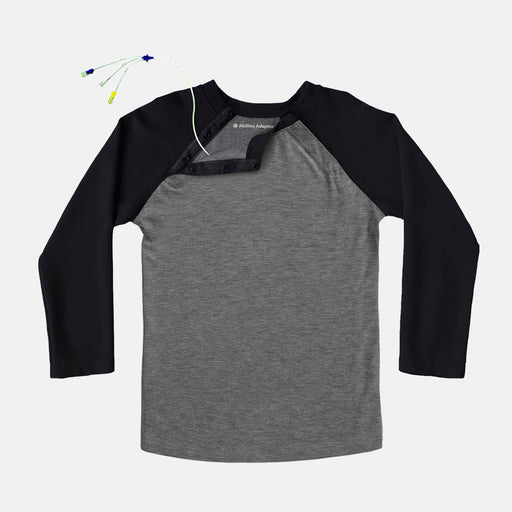 This comfortable Black and Heather Gray adaptive tee has snaps along the shoulder, making it MRI friendly and perfect for those with broviacs, chest ports, or chemo treatment!