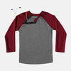 This soft Burgundy and Heather Gray adaptive tee has snaps along the shoulder, making it MRI friendly and perfect for those with broviacs, chest ports, or chemo treatment!