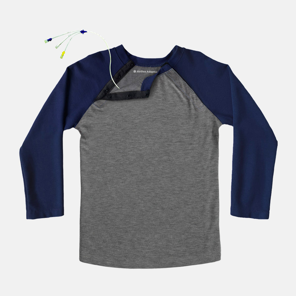 This classic Navy and Heather Gray adaptive tee has snaps along the shoulder, making it MRI friendly and perfect for those with broviacs, chest ports, or chemo treatment!