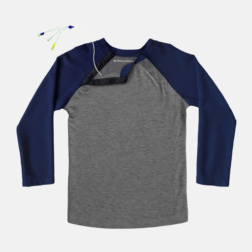 Navy Adult Shoulder Snap Baseball Tee