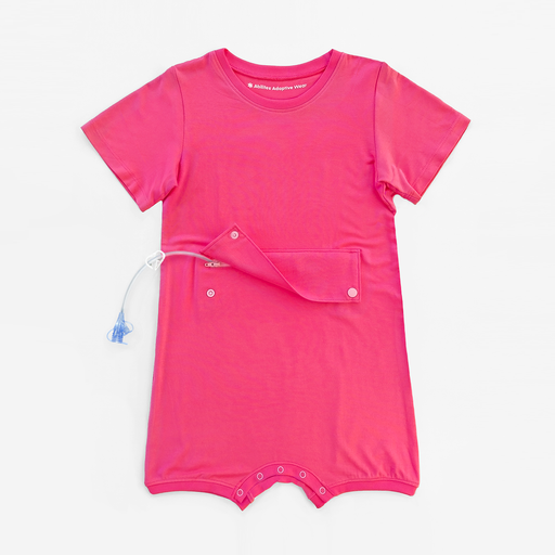Designed for bigger kids, this vibrant pink adaptive bodysuit has a zipper and snap panel at the abdomen, providing access and protection for feeding tubes, ostomies, and more.