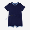 Designed for bigger kids, this classic navy adaptive bodysuit has a zipper and snap panel at the abdomen, providing access and protection for feeding tubes, ostomies, and more.