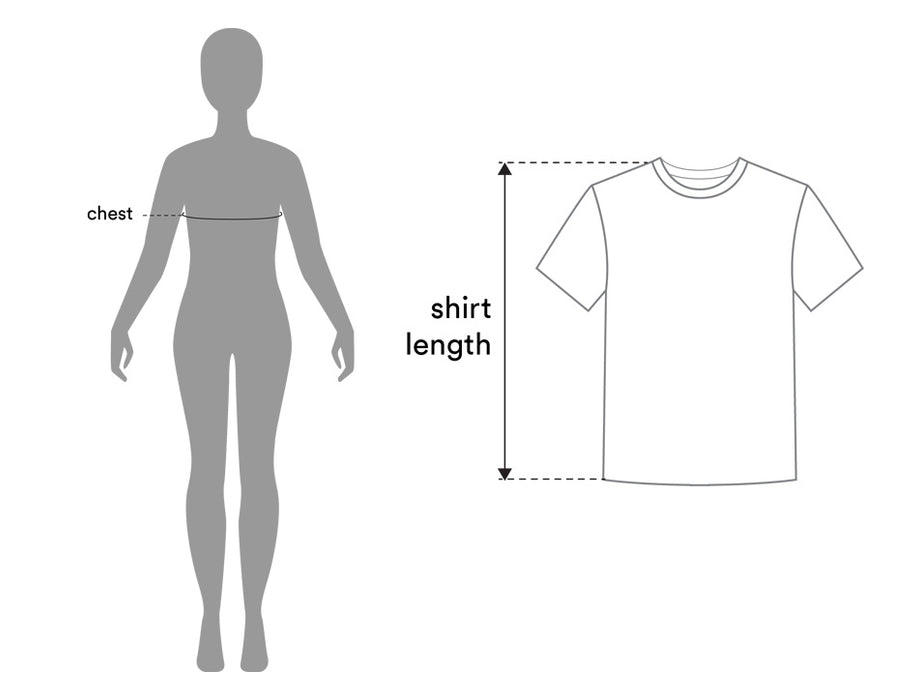 Diagram of chest and shirt sizes