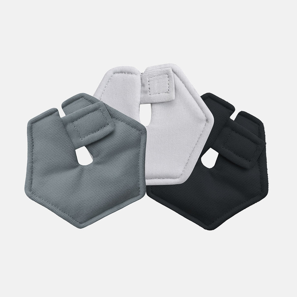 Pack of 3 hexagnoal feeding tube pads in ivory, gray and black colors