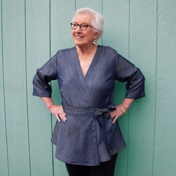 Dark blue tensel recovery blouse with kimono wrap front for limited mobility and shoulder snaps for chest port access