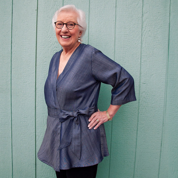 Dark blue tencel recovery blouse with kimono wrap front for limited mobility and shoulder snaps for chest port access