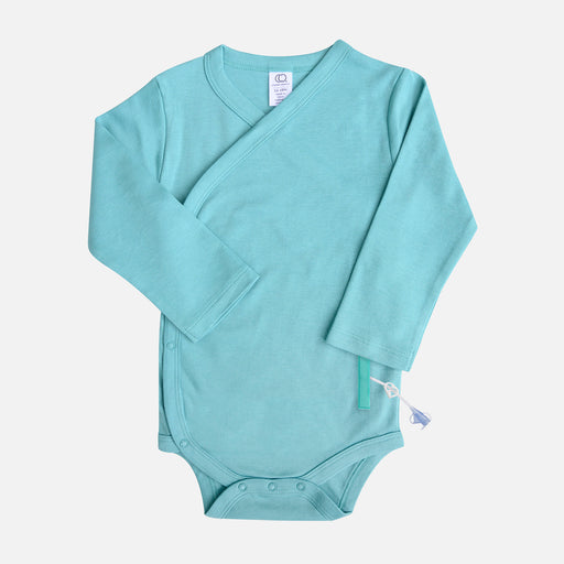 Bright blue infant kimono wrap style bodysuit, with adaptive openings in the sides for feeding tube access