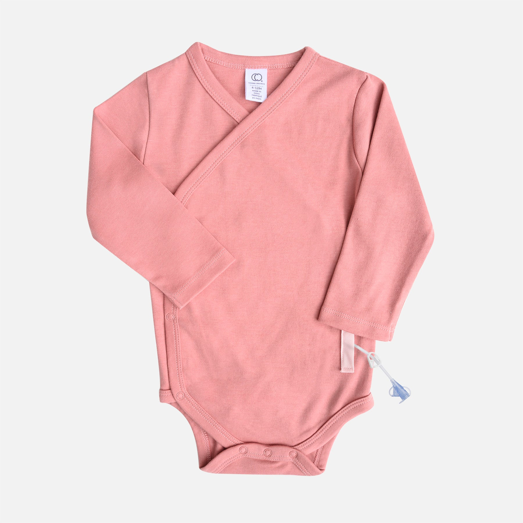 Dark pink infant kimono wrap style bodysuit, with adaptive openings in the sides for feeding tube access