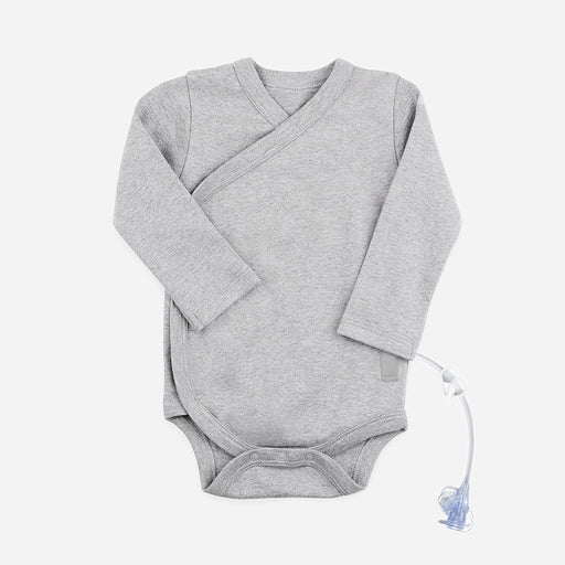 Baby bodysuit in gray kimono wrap style with adaptive opening for g-tube and cath access