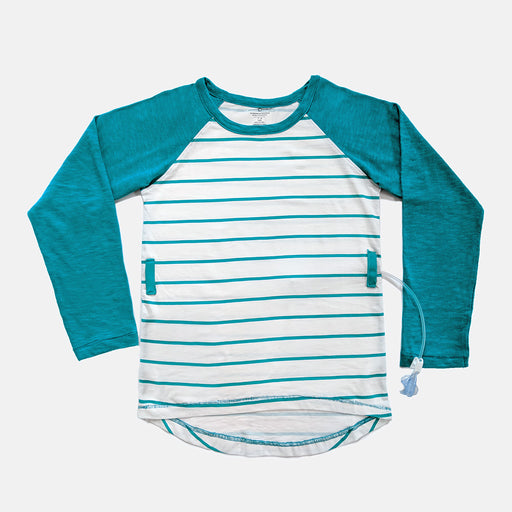 Blue and white stripe baseball tee with adaptive openings along the sides for feeding tube access