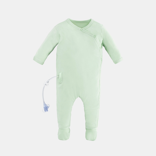 Cute baby Pajamas with adaptive openings in the sides for feeding tube and catheter access