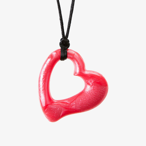 Heart shaped soft medical grade silicone pendant for chewing needs
