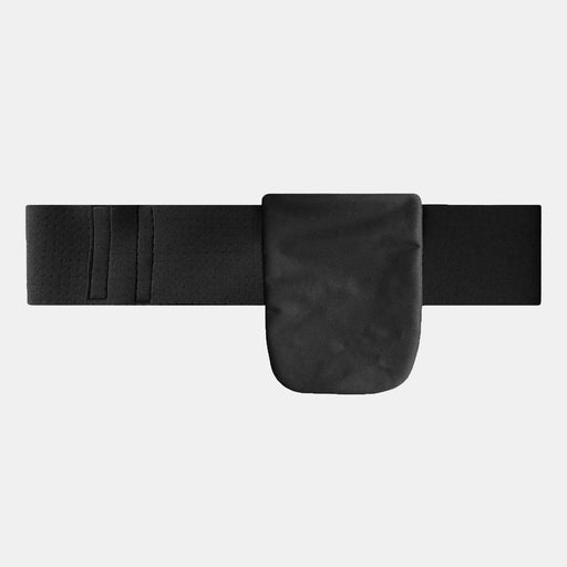 Lightweight neoprene ostomy support belt with adjustable black strap and a black bag cover attached