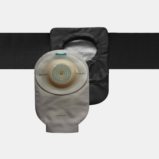 Black ostomy belt with ostomy bag fitted inside