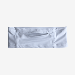 Insulin pump belt for diabetes in white stretch fabric with large zipper pocket