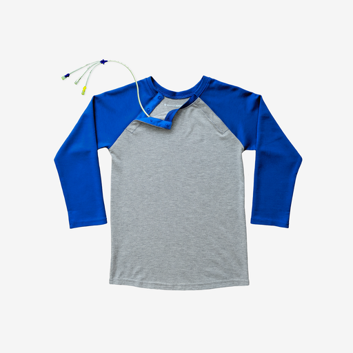 Bright, colorful, and MRI-friendly, this bold royal blue and heather grey adaptive tee has snaps along the shoulder, making perfect for those with broviacs, chest ports, or chemo treatment!