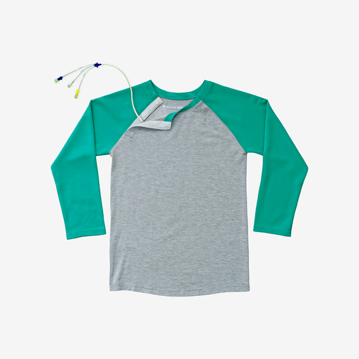 Bright, colorful, and MRI-friendly, this mint and heather grey adaptive tee has snaps along the shoulder, making  perfect for those with broviacs, chest ports, or chemo treatment!