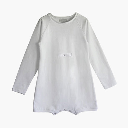 Longsleeve tummy g-tube access Wonsie brand adaptive bodysuit in soft cotton fabric
