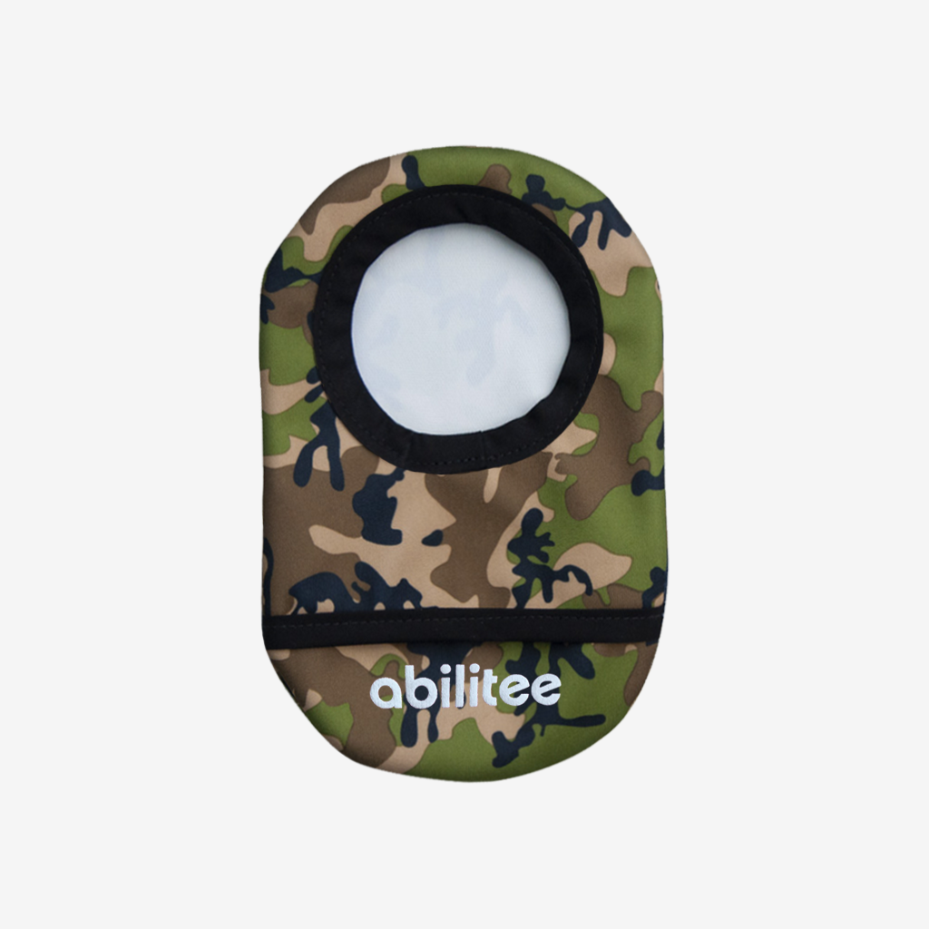 camo print ostomy cover made from waterproof water resistant PUL  material, helps protect ostomy and colostomy from leaks