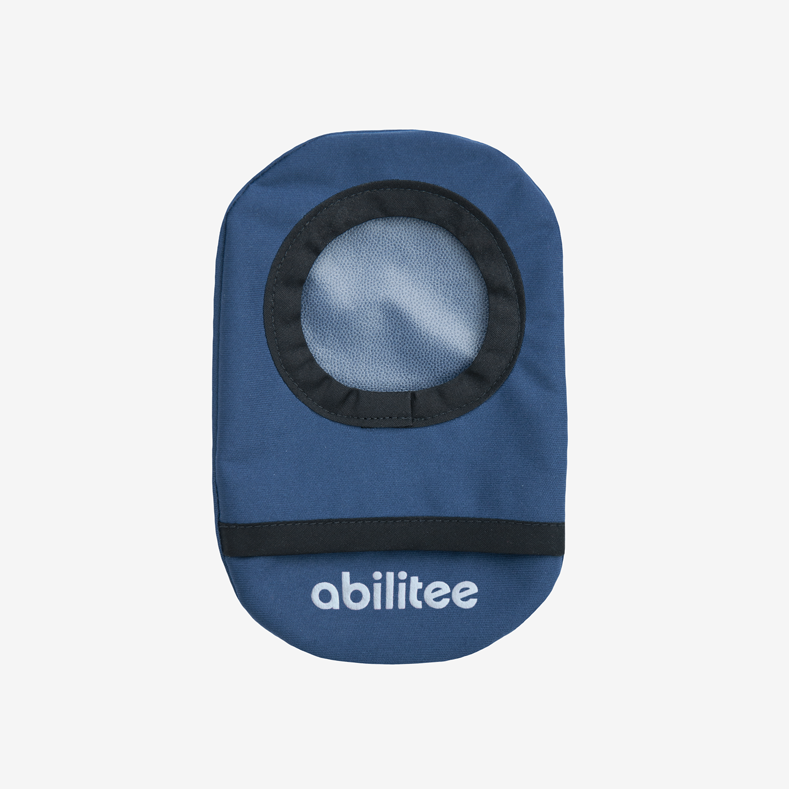 Ostomy bag cover in navy water-resistant fabric