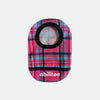 Pink plaid printed ostomy pouch cover made from water-resistant Eco-PUL fabric